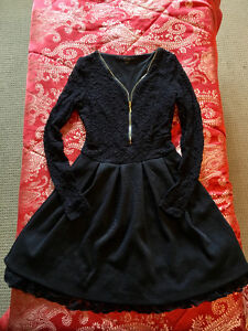 Long Sleeved Black Lace Short Dress GUESS