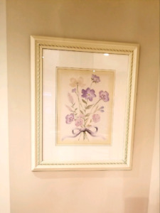 Framed and matted watercolour print