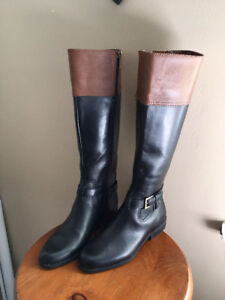 Anne Klein two-tone tall leather boot, size 36