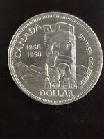 1958 Canadian Silver Dollar Coin Uncirculated -