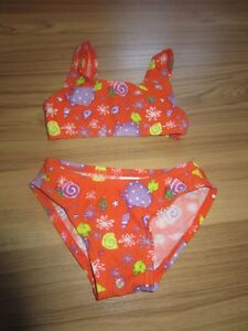 ORANGE TWO PIECE SWIM SUIT WITH FISHES - SIZE 2