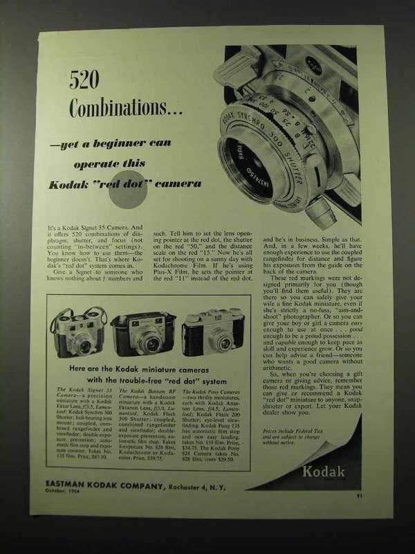 1954 Kodak Signet 35 Camera Ad - 520 Combinations