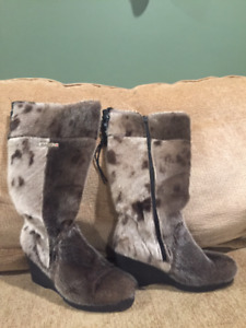 Seal Skin Boots with Wedge Heel
