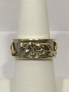 Men's 14K Yellow and White Gold Panther Ring Band