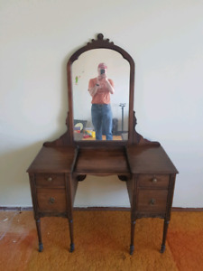 Antique solid wood vanity desk