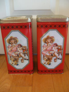 TWO TALL SLENDER METAL CHRISTIE CRACKER COLLECTIBLE TINS