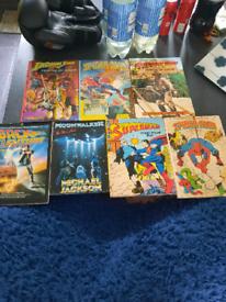 1980s Annuals and movie books spiderman superman etc