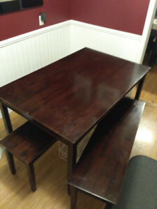 Solid Heavy Dining Room Table and one bench
