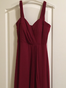Women's Long Burgundy Red Bridesmaid Evening Dress Medium 10-12