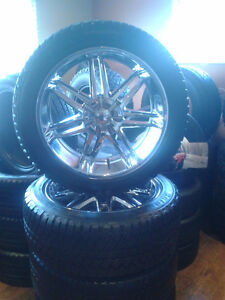 "(4) 22"" Chevy Chrome Boss rims with tires"
