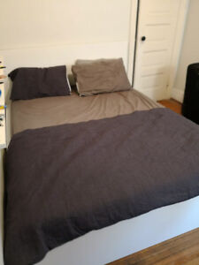 Ikea Malm Bed with Queen Size Mattress and drawers