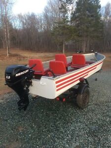 2008 Mercury 20 HP four stroke with 14' boat and trailer