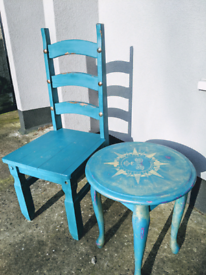 Upcycled Mexican solid wood chair and side table