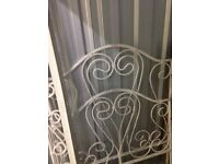 Shabby chic white metal single bedframe