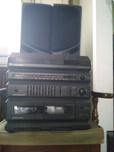 GE Drive Turntable  and Dual Cassette Tape Deck