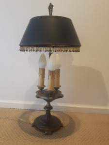 Antique Cast Iron 3 Bulb Table Lamp (adjustable shade height)