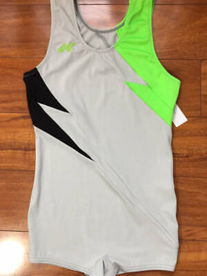 Alpha Factor Men's Guys Gray Neon Black Singlet Gymnastics Adult Medium