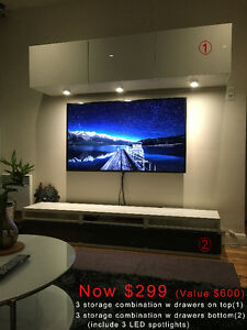 TV Stand Combo 6 pieces + LED light (Cabinets, storages, drawers