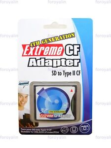 SDHC SD SDXC Eye-Fi Card To Compact Flash CF Type II Adapter Reader up to 128GB
