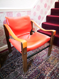Arkana vintage mid 20th century red vinyl chair