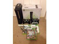 Xbox 360 120GB + games + mic + 2 controllers