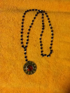 Red Flower Black Beaded Necklace