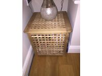 IKEA pine lattice storage cube coffee table/ lamp stand