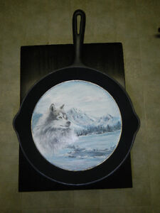 Painted cast frying pan