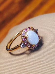 14K Gold Australian Opal w/diamonds and sapphires