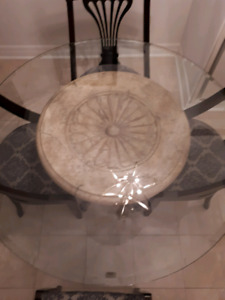 Glass Dining Table on Wrought Iron and Faux Stone Base
