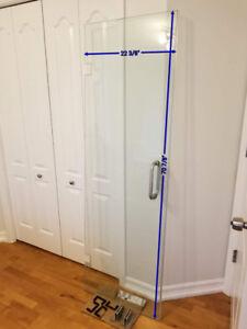 Glass shower door frameless
