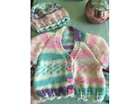 Hand knitted cardigan and hat