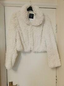 Cream, fur jacket, short length, size 20
