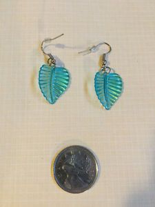 Light Blue Plastic Leaf Earrings