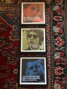 Cadres citation Dylan, Kennedy, Marley / Quotation frames Dylan,