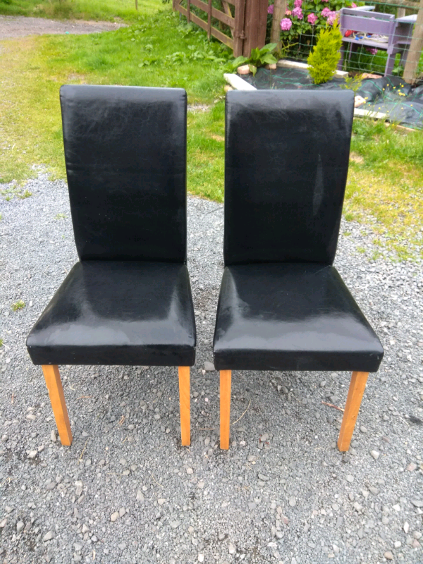 Admirable 2 Black Leather Effect Dining Chairs 10 For Both In Carryduff Belfast Gumtree Gamerscity Chair Design For Home Gamerscityorg