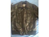 Men's black leather jacket L