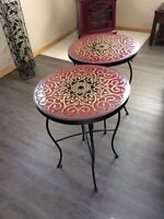 Ceramic and iron end tables