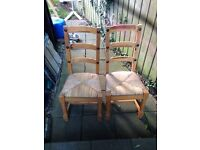 Six solid pine chairs