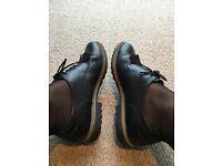Size 6 Clarkes black brogues with trim