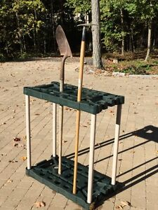 Garden tool long handle storage unit