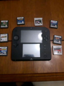 Nintendo 2ds, charger, and games