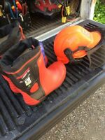 New chainsaw boots and helmet.
