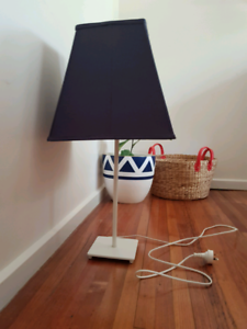 Lamp with Blue Fabric Shade
