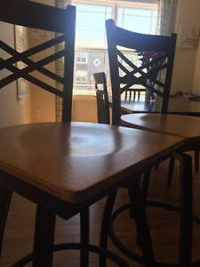 2 Wood & Metal Barstools (Bar Chairs) for Sale