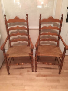 2 Maple Captains Ladderback Chairs with Rush Seats