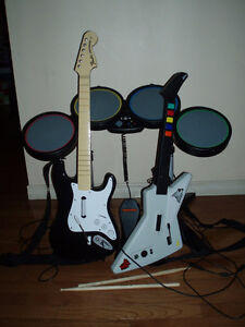 Xbox 360 Rock Band Set - Drums w/ 2 Guitars and more