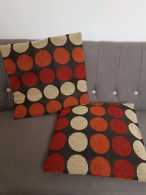 Pair of multi coloured spotty cushions