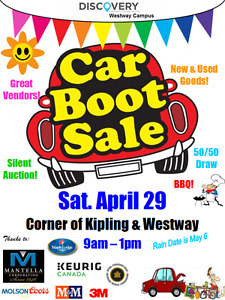 Car Boot Rummage Sale Sat. April 29 at DC3 Etobicoke