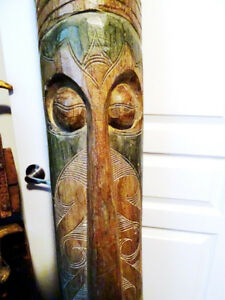 "TRIBAL tiki TOTEM 79"" curved POLYNESIAN bar MAN CAVE hand carved"